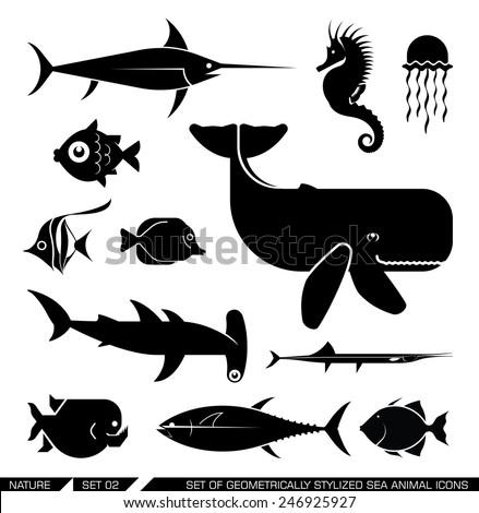 Set of various sea animal icons: Whale, hammerhead shark, swordfish, piranha, seahorse, fish. Vector illustration.