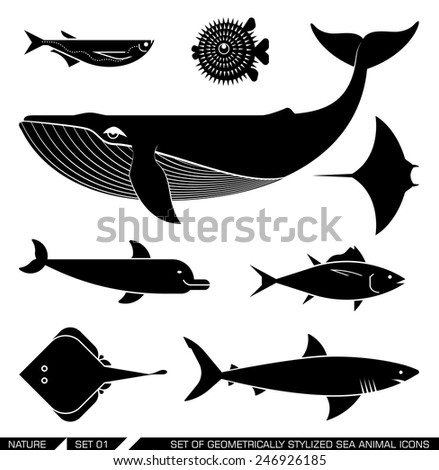 set of various sea animal icons