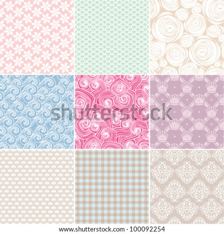 set of various seamless background