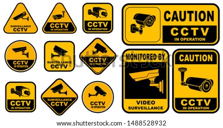 Set of Various Security Camera or cctv for street, home and building concept. eps 10 vector