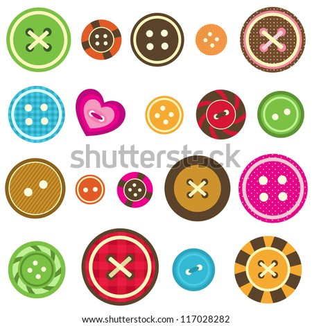 set of various sewing buttons on white background