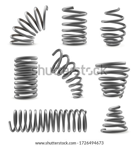 Set of various shaped metal springs tapering, expanding in different places. Compressed, extended coils, spirals icons. Heliciform, helicoid, spiraliform objects vector collection isolated on white.
