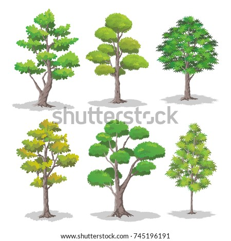 set of various shapes of trees