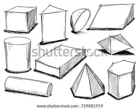 Set of various sketchy 3d geometrical shape doodles.