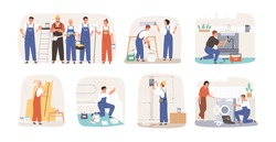 Set of various smiling home masters and repairmans vector flat illustration. Collection of different plumber, painter, plasterer, tiler and electrician isolated on white. Man and woman repairers