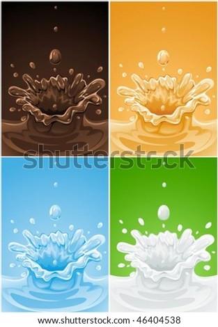 set of various splash drink liquids - vector illustration