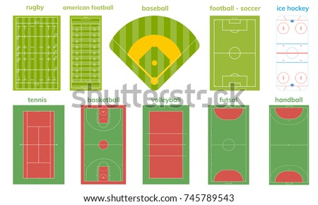 set of various sport field and