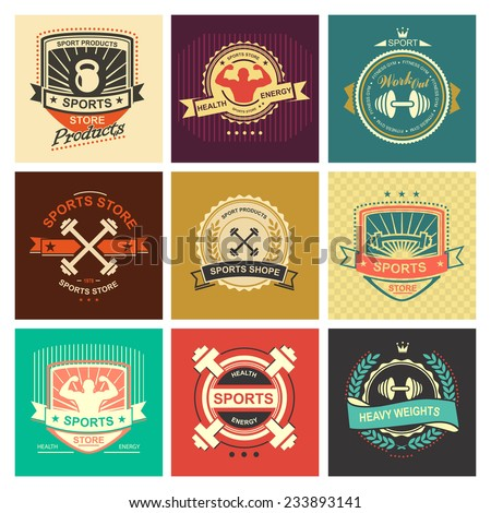 Set of various sports and fitness logo emblem graphics and icons. Shop sport products