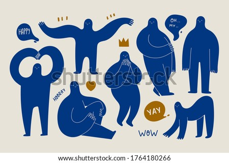 Set of various strange creatures or people or persons with long arms and small heads. Cute disproportionate isolated characters in different poses. Blue abstract Vector set. Hand drawn illustration