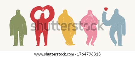 Set of various strange creatures or people or persons with long arms and small heads. Cute disproportionate isolated characters in different poses. Abstract Vector set. Hand drawn illustration