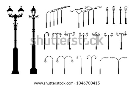 set of Various Street Pole Lamp and Garden Lamp silhouette vector