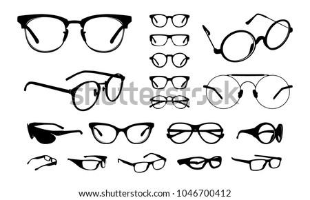 set of Various stylish Eye Glasses Frame Silhouette vector illustration