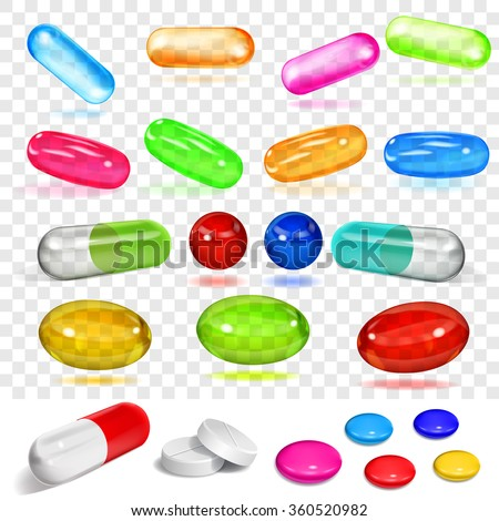Set of various transparent and opaque multicolored capsules and pills. Transparency only in vector format