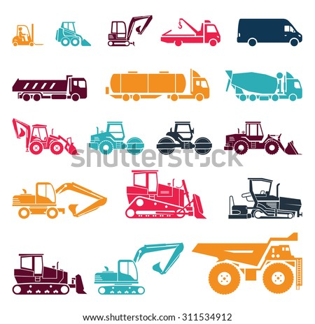 Set of various transportation and construction machinery. Heavy equipment. Collection of heavy trucks. Heavy-duty vehicles, designed for executing construction tasks and earthwork operations.