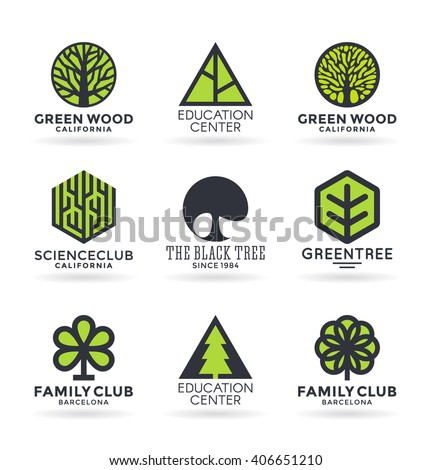 set of various tree symbols and