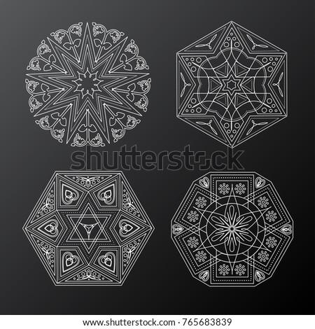 Set of various vector ethnic arabic tile elements with traditional east patterns. Vector illustration for your graphic design.