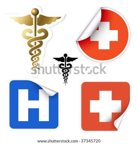 Set of various vector medical symbols on stickers