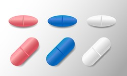 Set of various vector oval pills and tablets isolated on white background
