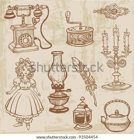 Set of Various Vintage Doodle Elements - hand drawn in vector