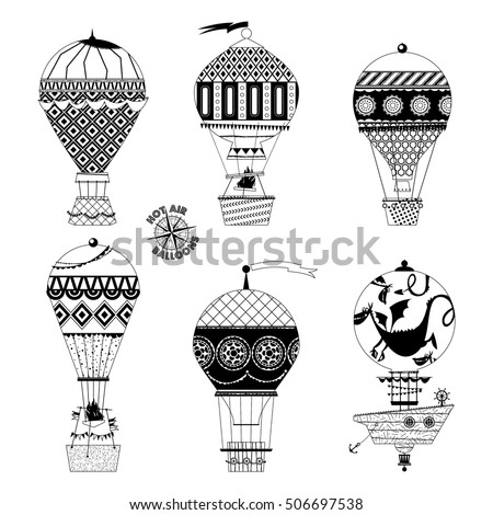 set of various vintage hot air