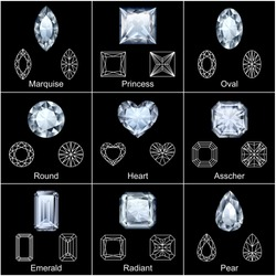 Set of variously shaped realistic diamonds - vector