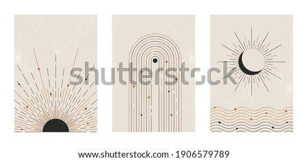 Set of vector abstract boho posters. Minimalist design for background, cover, wallpaper, print, card, wall decor, social media, stories, branding. Landscapes, sun, moon, sea, lines, balance shapes.