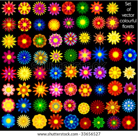 Set of vector abstract florets
