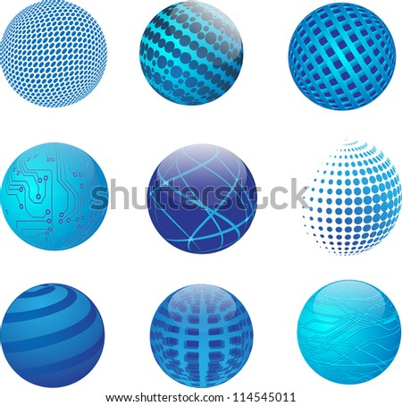 Set of vector abstract globe