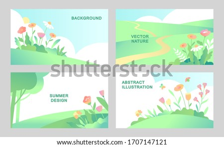Set of vector abstract summer landscape backgrounds with copy space for text. Horizontal template Natural designs in flat style.