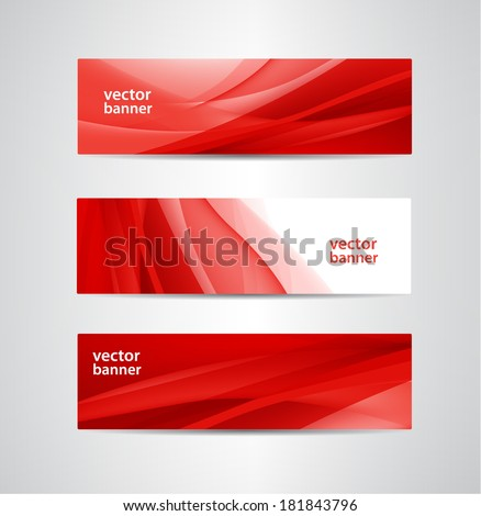 set of vector abstract wavy red