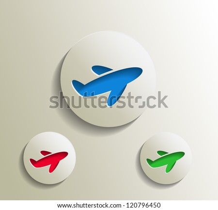 set of vector advertisement icon with airplane