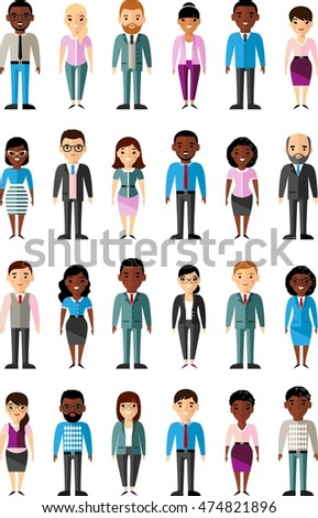 Set of vector  african american, european business peoples illustration of a international different manager man and woman