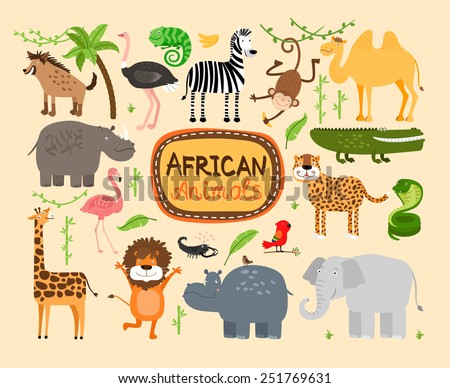 set of vector african animals