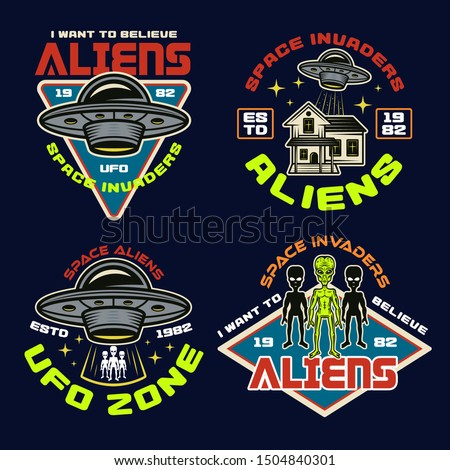 set of vector aliens and ufo