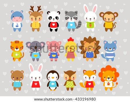 Set of vector animals in cartoon style. Cute animals on a gray background. A collection of small animals in the children\'s style. Africa, tropics, antarctica, farm, forest.