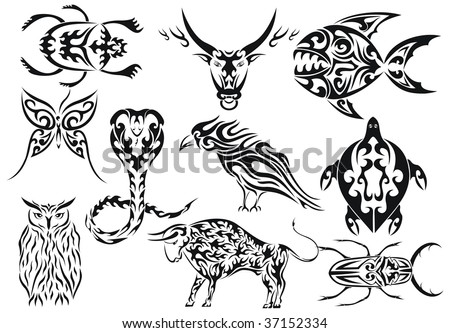 stock vector : Set of vector animals tribal tattoos