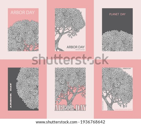 set of vector arbor day