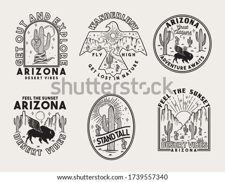 set of vector arizona desert