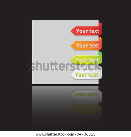 Set of vector arrow labels on glossy background