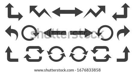 Set of vector arrows and pointers on a white background.
