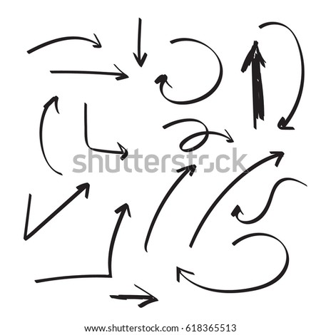 Set of vector arrows hand drawn. Sketch style. Collection of pointers isolated