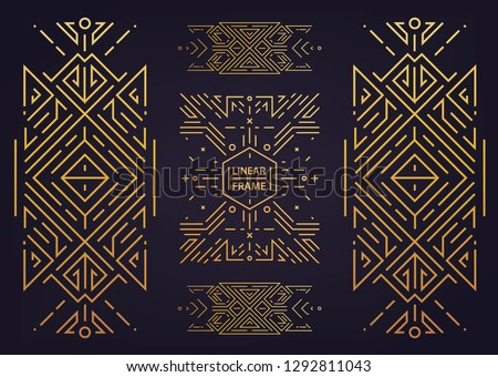 Set of vector Art deco golden borders, frames. Creative templates in style of 1920s. Trendy cover, graphic poster, gatsby brochure, design, packaging and branding. Geometric shapes, ornaments, element #1292811043