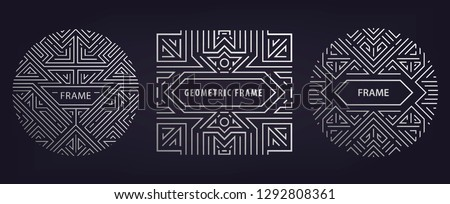 Set of vector Art deco silver borders and frames. Creative templates in style of 1920s,  illustration. Trendy cover, graphic poster, gatsby brochure, design, packaging and branding. Geometric shapes #1292808361