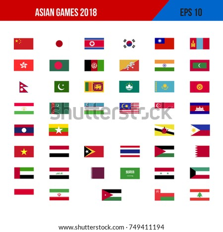 stock vector set of vector asian flags icon collection illustration all country 749411194 - Asian Games 2018 How Many Country