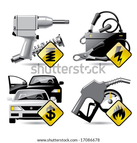 Set of vector automobile service and repair related icons 2 - stock vector