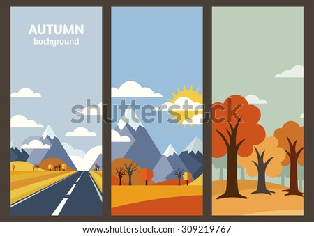 set of vector autumn landscape