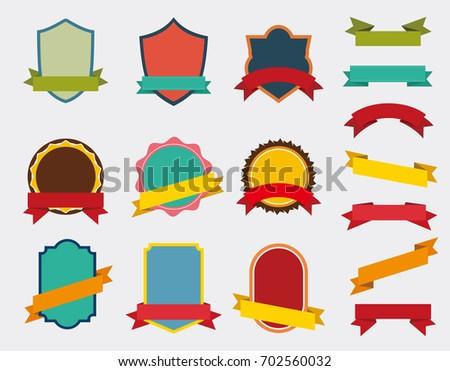 Set of Vector Badge with ribbon, Retro Labels and Ribbons color design,  Vintage logo website and mobile website badges, ads, print material, label frame design
