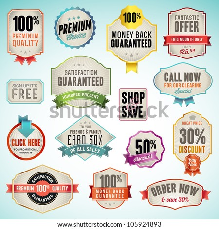 Set of vector badges and labels - stock vector