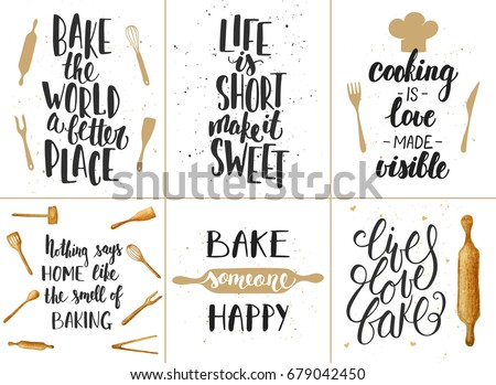 set of vector bakery lettering