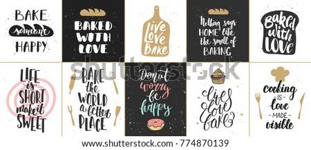 set of vector bakery lettering